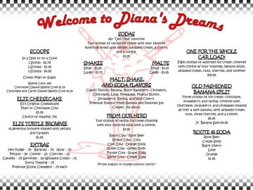 Diane's Ice Cream Menu Page 1